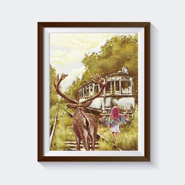 "Kunstdruck ""deer train girl"""